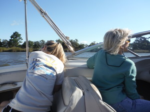Abby and Donna on ride out aboard Tom's boat as Abby tries not to lose her breakfast.