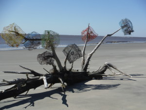 My guess is the SC DNR sea turtle group decorated this tree in anticipation of our cleanup.